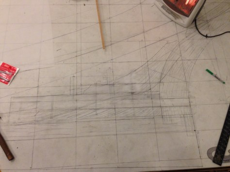 after a lot of erasing and redrawing this is what the lofting floor looked like around the counter timber.