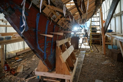 The lead balast and deadwood were wedged open to expose the keel bolts which were cut to separate the hull.