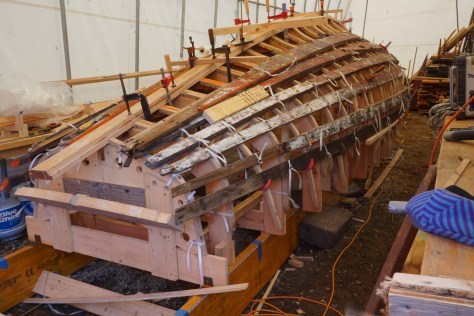 Once clamped down and cooled the keel was fitted to the upper deadwood and oak backer as well as bolted to the floor timbers.