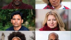 2016 Goldman Environmental Prize winners Edward Loure, Máxima Acuña, Zuzana Caputova, Luis Jorge Rivera Herrera, Destiny Watford, and Leng Ouch