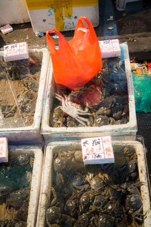 ...głównym towarem, oprócz jajek, warzyw i masy ryb, były kraby...
