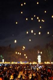 Kilka niecierpliwych osób nie wytrzymało napięcia podczas próby generalnej przy wyraźnym zakazie podpalania lampionów i poleciały.