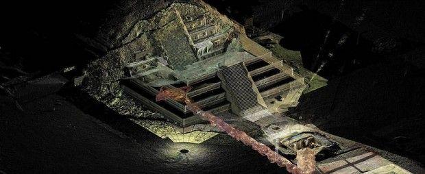 Teotihuacán habría sido construida como una réplica de la manera como se concibió el cosmos: arriba la región celeste, en medio el plano terrenal y abajo el inframundo. Imagen: Proyecto Tlalocan-INAH