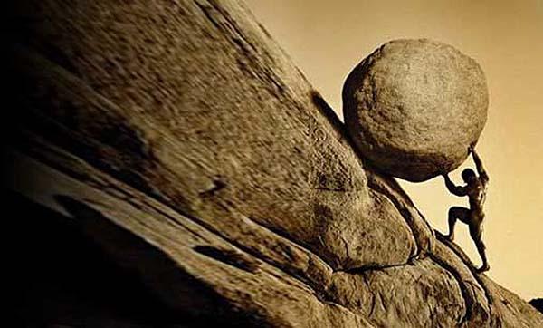 Sísifo cargando la piedra.