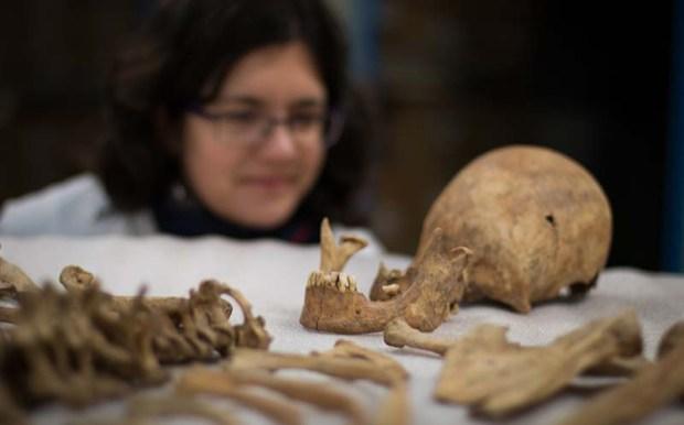 Investigadores analizando los esqueletos de York. Crédito: Universidad de York.