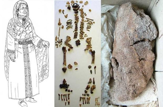 A la derecha, el pulmón momificado de la reina merovingia Arnegunda. Crédito: Universidad de Turín.