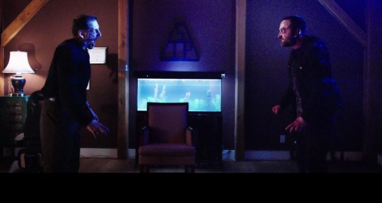 "(L-R) John Speredakos as Dr. Michael Slovak and Graham Skipper as Zack Connors in the horror film ""THE MIND'S EYE"" an RLJ Entertainment release. Photo credit Joe Begos."