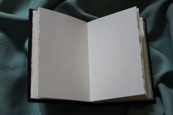 I hand cut each of the ivory colored cotton pages, and deckled one edge.