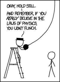 Es divertido intentar entender las leyes de la física, pero como organismo con ojos increíblemente delicados, que evolucionaron en un mundo lleno de objetos afilados, tengo una gran confianza en la calibración de mis reflejos que ha hecho la biología.
