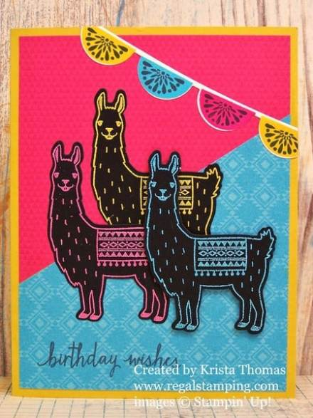 Party llamas by Krista Thomas, www.regalstamping.com, Birthday Fiesta all products by Stampin' Up!