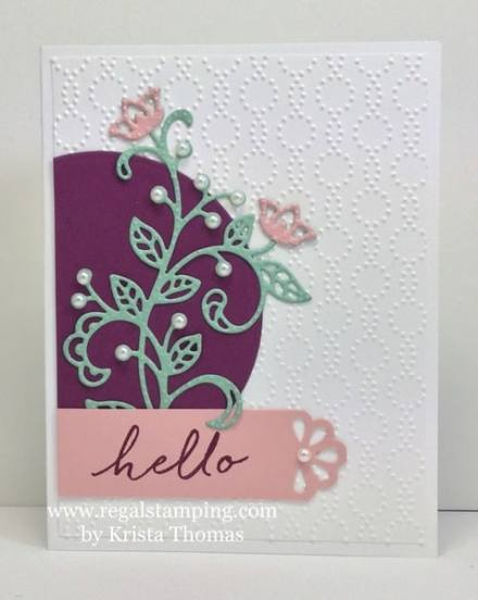 Flourish Thinlits Hello for #GDP057 by Krista Thomas, www.regalstamping.com