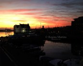 Sunset over the V&A Waterfront in Cape Town.