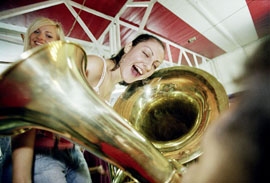 "Serbia, Festival ""The Golden Trumpet of GUCA"", girls and trumpets..."