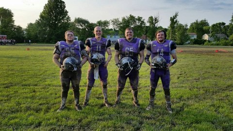 Panther alumni playing for 2016 Enforcers (From left to right: Nate Eickhoff, Chuck Capshaw, Chris Tuck, and Brent Schnaare)