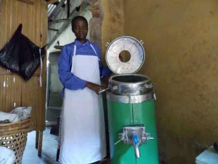 Pamela Atieno with a fruit extractor for the group at God Jope. [Picture: Miller Omega ]