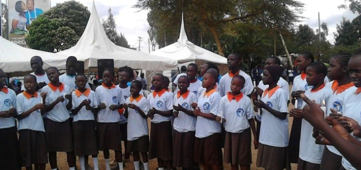 Magoso Primary School choir at a public forum in Kibra Constituency in Nairobi