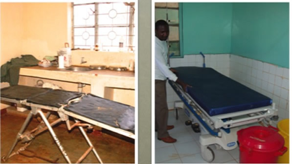 Old stretchers that used to be at Marsabit District Hospital (left),the new ones that replaced them (right). The hospital has been renovated and refurbished with new equipment to provide better services.Picture:Henry Kahara