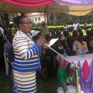 Nakuru County first lady Elizabeth Kinyanjui addressing the public during a past public event.Picture:Jackson Okata