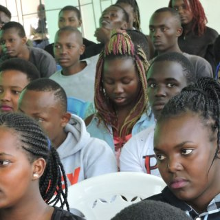 Teenagers meeting at Nakuru Library during a reproductive health training to sensitize them to curb the increase of teenage pregnancies in the county.Picture:Ben Ali