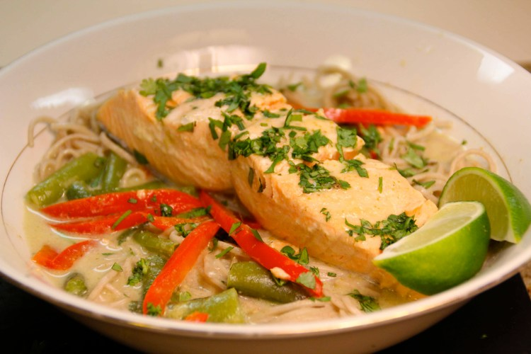 Salmon & Soba Noodles in Thai Green Curry Broth | The Amused Bouche