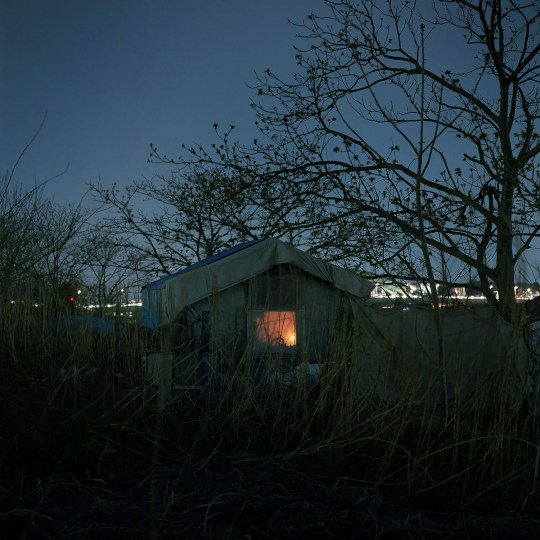 homeless man's shelter along the tama river. march, 2014.