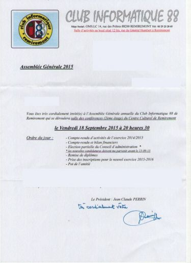 invitation AG Club Informatique