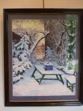 Le parc sous la neige (gouache sur cartoline)