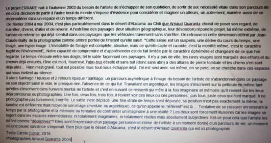 Texte concernant l'exposition d'Arnaud Quaranta
