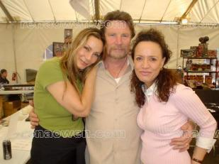 Rena with Road Warrior actors Virginia Hay and Vernon Wells