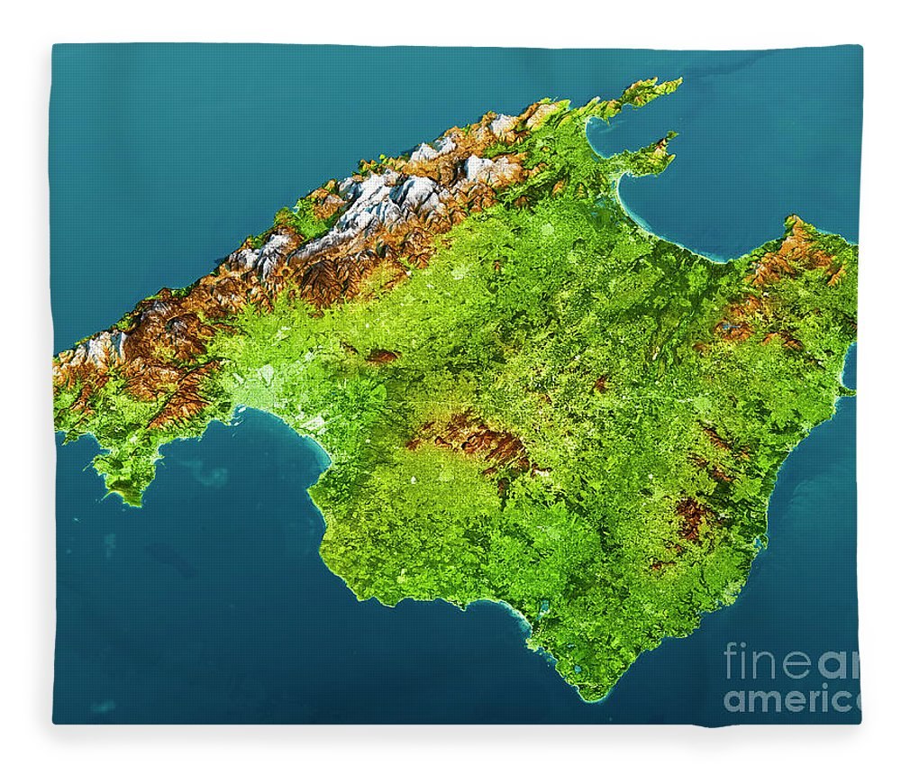Mallorca Island Topographic Map 3d View Color Fleece Blanket for     Mallorca Fleece Blanket featuring the digital art Mallorca Island  Topographic Map 3d View Color by Frank