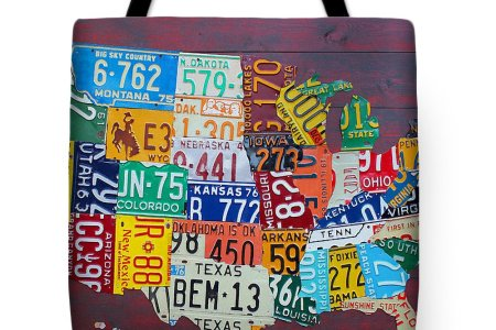 license plate map of the united states tote bag for sale