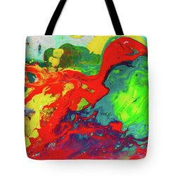 Tempting Art Tote Bag Featuring Painting Playful Spring Colorful Happyabstract Art Painting By Playful Spring Colorful Happy Abstract Art Painting Tote Bag For