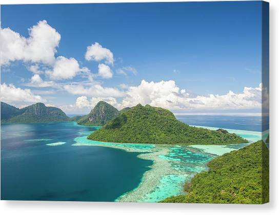 Borneo Island Canvas Prints   Fine Art America Borneo Island Canvas Print   View Of Islands And Reef by Scubazoo