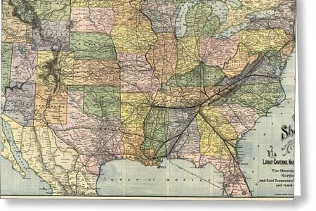 antique railroad map of the united states 1890 drawing