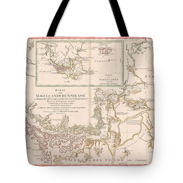 Strait Of Magellan Tote Bags   Fine Art America Antique Maps   Old Cartographic Maps   Antique Map Of The Strait Of Magellan   South
