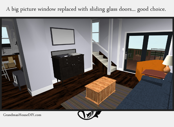 Remodeling an old farm house - creating a modern living room in an old space. 3d image. GrandmasHousediy.com