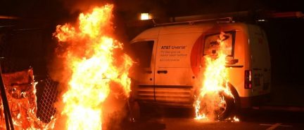 van burning riots