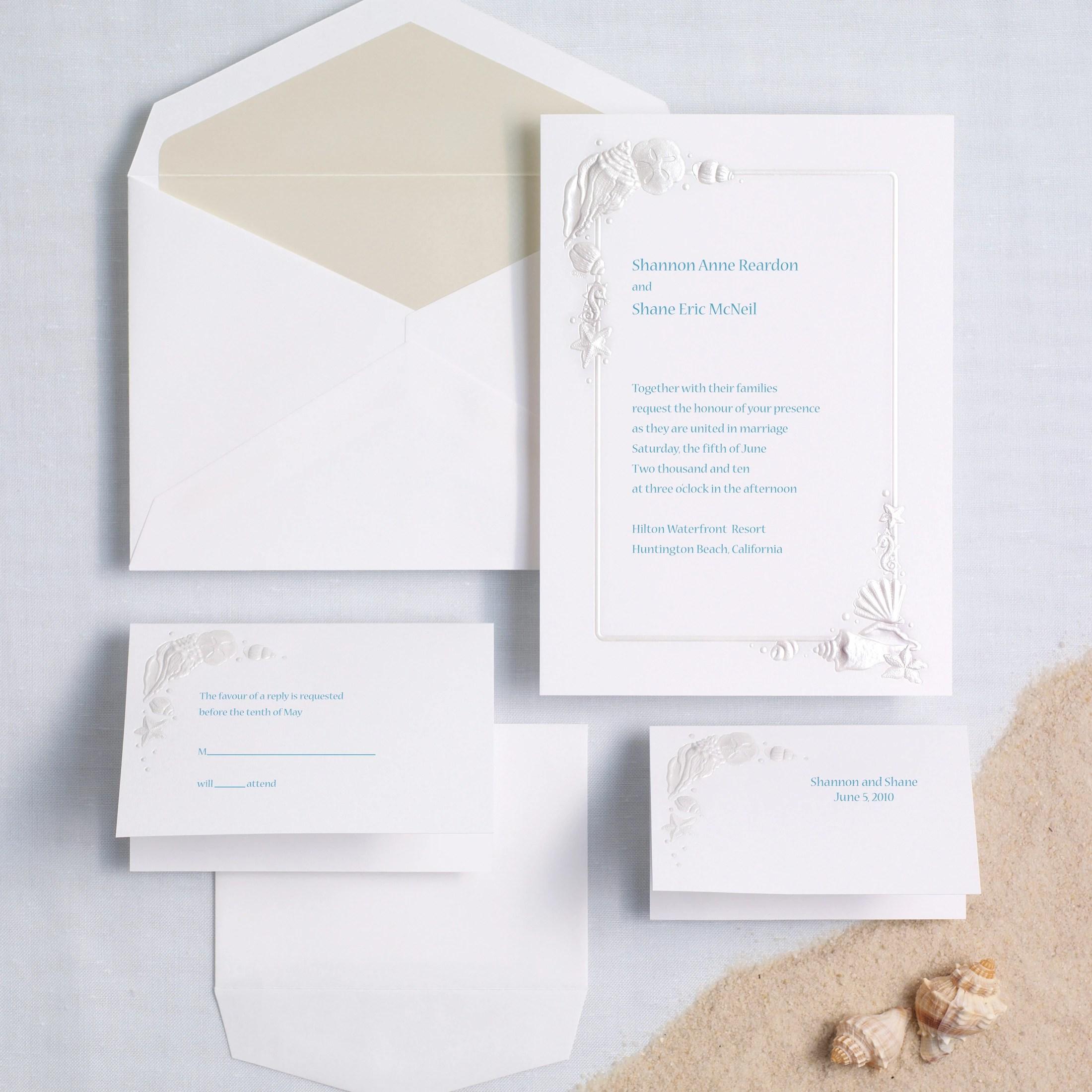 Sea Treasures Pearl beach wedding invitations