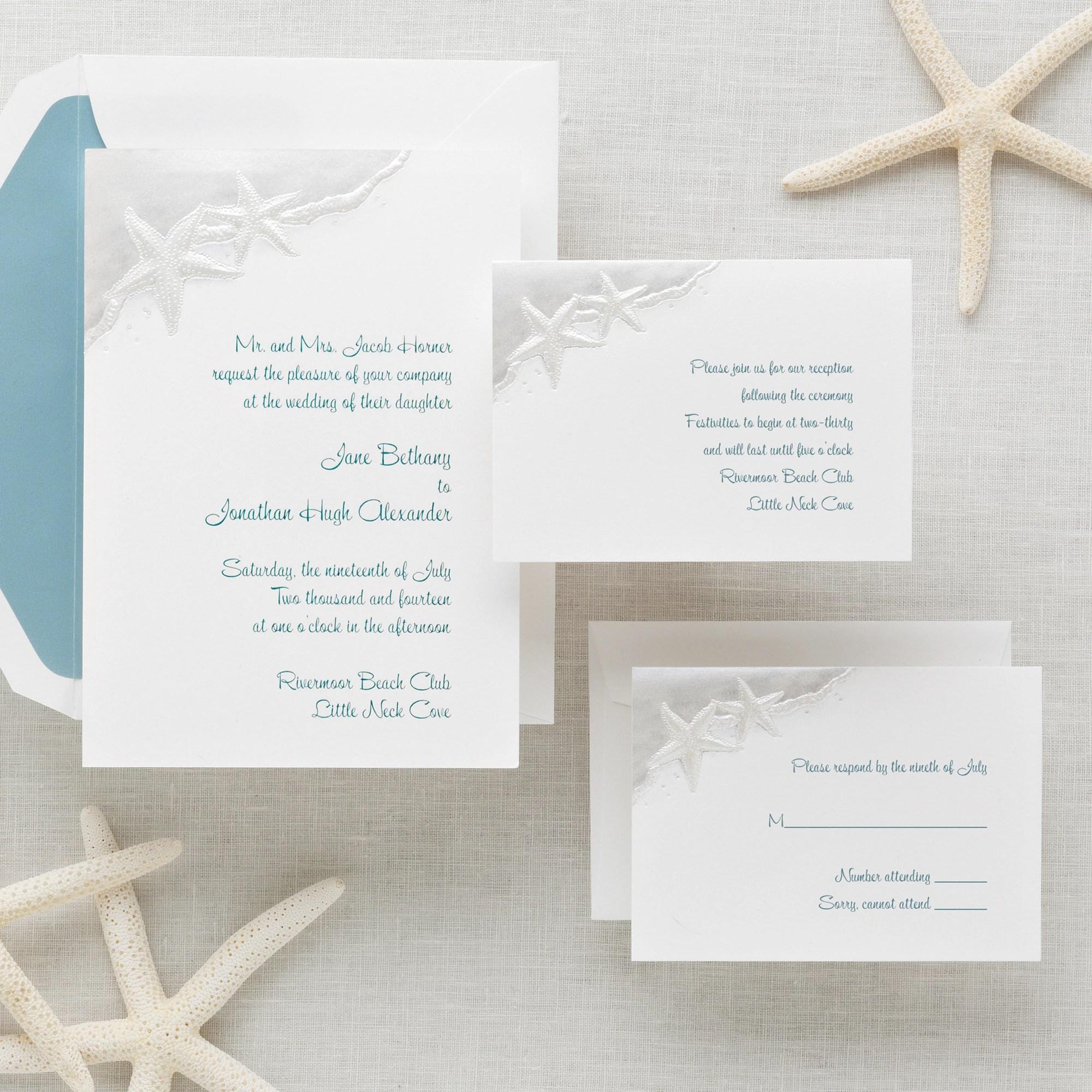 Beach Wedding Invitation viewall true beach wedding invitations Starfish