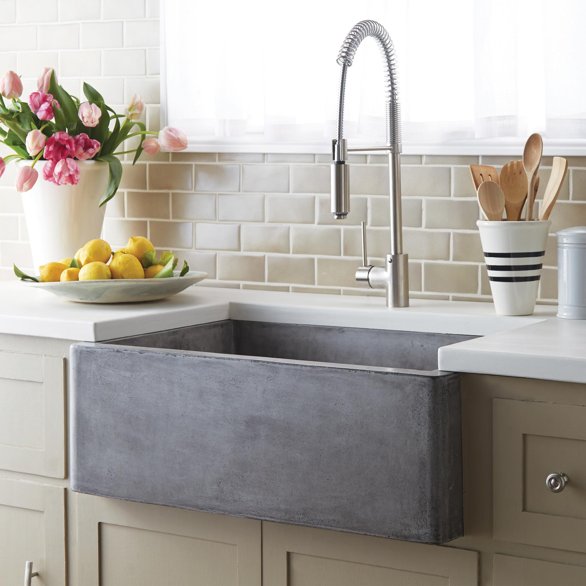 whats right sink size kitchen kitchen sink sizes Native Trails 30 NativeStone Concrete Farmhouse Kitchen Sink