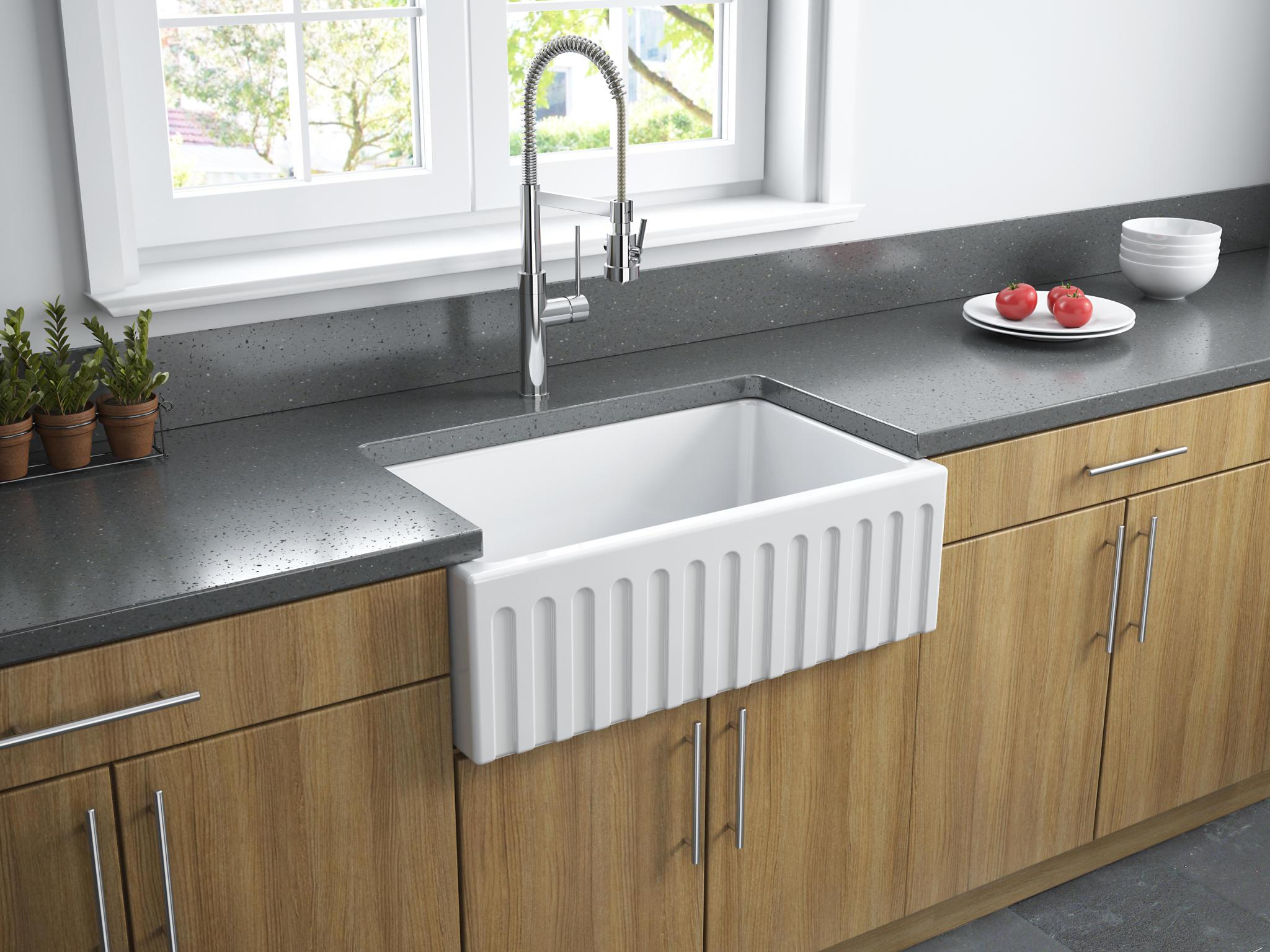 whats right sink size kitchen kitchen sink sizes Latoscana 30 Reversible Fireclay Farmhouse Kitchen Sink