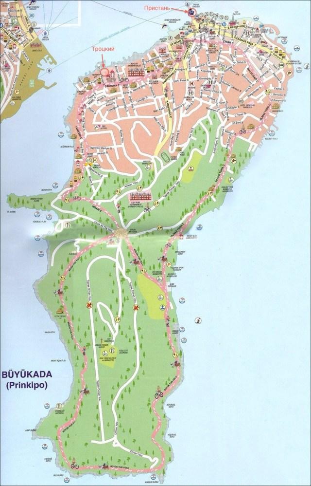 Принцевы острова, карта с достопримечательностями