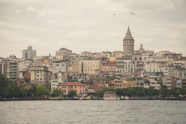 Вид на северный берег Золотого Рога, Башня Галата, Стамбул