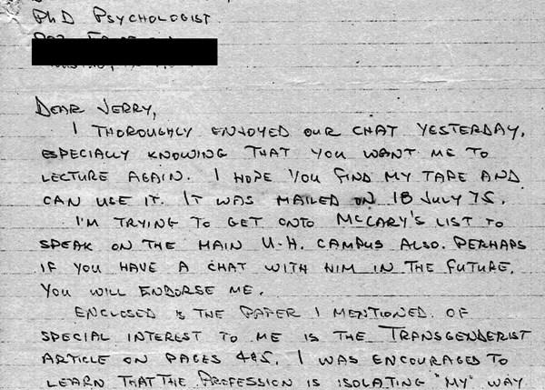 1975 usage of Transgenderist, Phyllis Frye