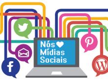 notebook com algumas mídias sociais