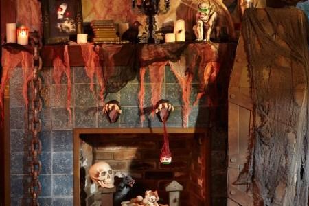 rustic halloween mantle decoration