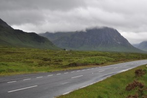 Driving toward Glencoe in the Scottish highlands