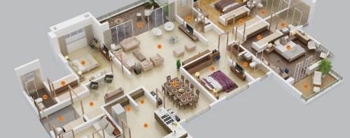 4 Yatak Odalı Ev-Apart Daire-Villa İç Tasarımları