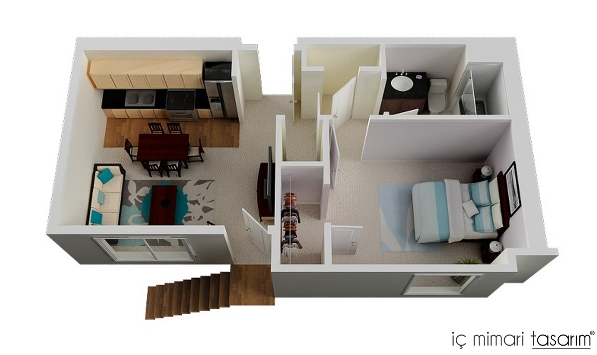 One 1 Bedroom Home Plans
