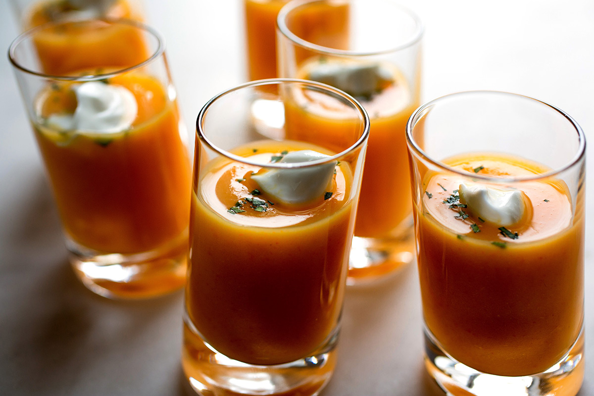 """Soup Shots. Parsnip and Carrot Soup with Tarragon"""""""